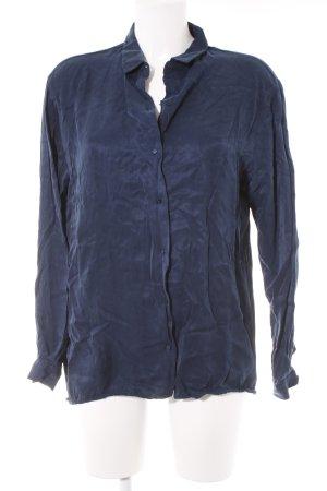 Zara Basic Hemd-Bluse dunkelblau Casual-Look