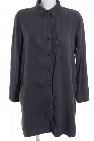 Zara Basic Hemd-Bluse graublau-dunkelgrau Street-Fashion-Look