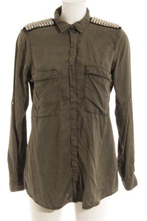 Zara Basic Hemd-Bluse olivgrün Casual-Look