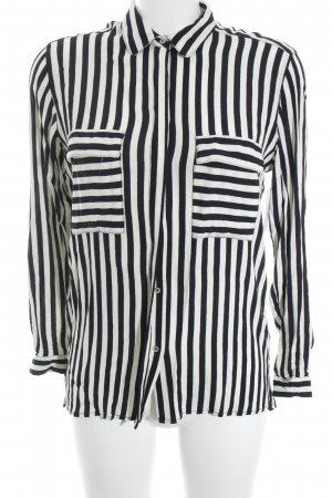 Zara Basic Hemd-Bluse schwarz-creme Streifenmuster Casual-Look