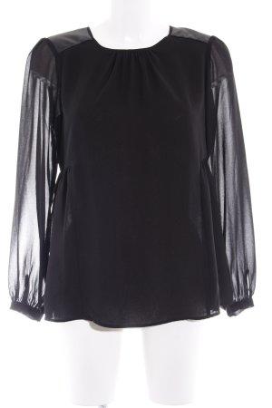 Zara Basic Hemd-Bluse schwarz Elegant