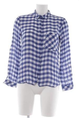 Zara Basic Hemd-Bluse weiß-blau Karomuster Casual-Look