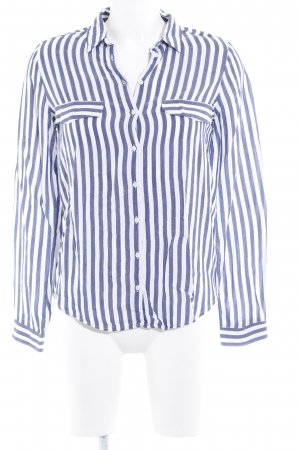 Zara Basic Hemd-Bluse weiß-dunkelblau Streifenmuster Casual-Look