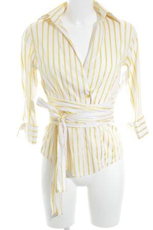 Zara Basic Hemd-Bluse weiß-neongelb Streifenmuster Casual-Look