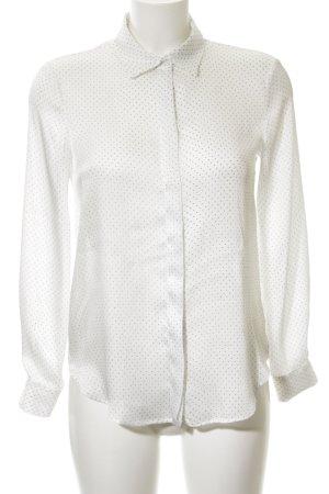 Zara Basic Hemd-Bluse weiß-hellgrau Punktemuster Business-Look