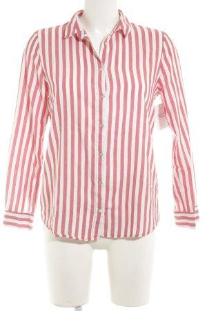 Zara Basic Hemd-Bluse ziegelrot-weiß Streifenmuster Casual-Look