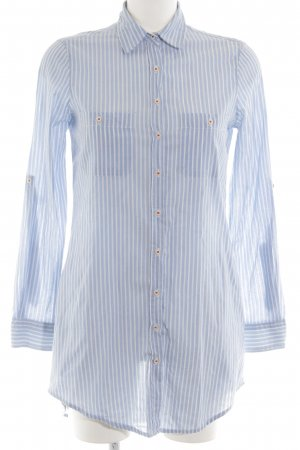 Zara Basic Hemdblousejurk neon blauw-wit gestreept patroon zakelijke stijl