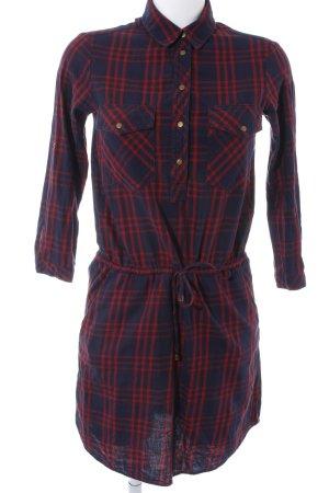 Zara Basic Robe chemise bleu foncé-rouge foncé motif à carreaux