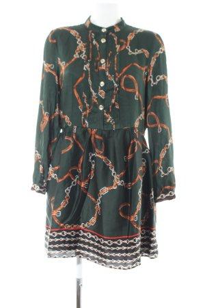 Zara Basic Hemdblusenkleid khaki-hellorange abstraktes Muster Casual-Look