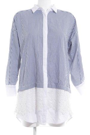 Zara Basic Hemdblusenkleid graublau-weiß Mustermix klassischer Stil