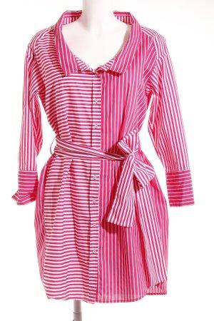 Zara Basic Hemdblusenkleid pink-wollweiß Streifenmuster schlichter Stil