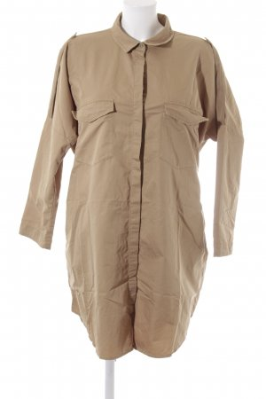 Zara Basic Hemdblusenkleid sandbraun Safari-Look