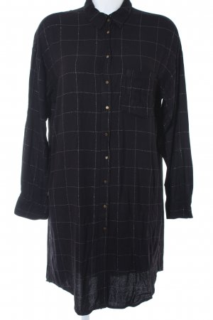 Zara Basic Shirtwaist dress black-silver-colored check pattern casual look