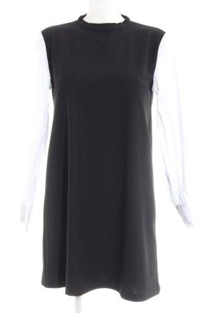 Zara Basic Hemdblusenkleid schwarz-weiß Business-Look