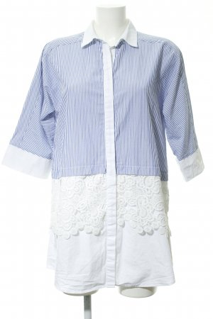 Zara Basic Hemdblusenkleid weiß-dunkelblau Streifenmuster Casual-Look