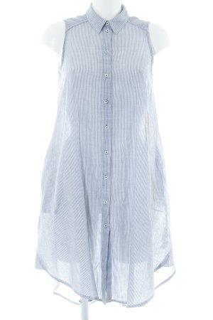 Zara Basic Hemdblusenkleid weiß-himmelblau Streifenmuster Casual-Look