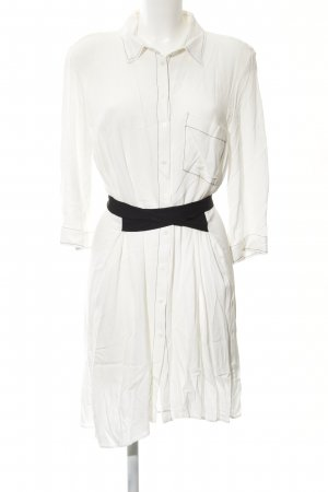 Zara Basic Hemdblusenkleid wollweiß-schwarz Casual-Look