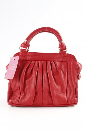 Zara Basic Henkeltasche rot-silberfarben Street-Fashion-Look