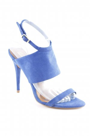 Zara Basic High Heel Sandaletten blau-cognac Matt-Optik