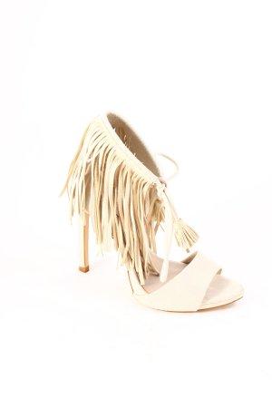 Zara Basic High Heel Sandaletten hellbeige Ethno-Look