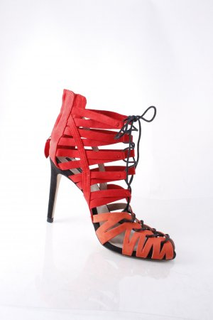 Zara Basic High Heel Sandal bright red-orange street-fashion look