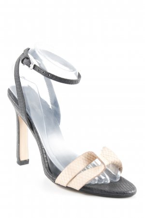 Zara Basic High Heel Sandaletten schwarz-creme Animal-Look