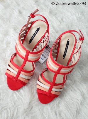 Zara Basic High Heels Rot/Orange/Nude 36