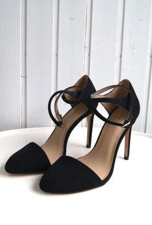 Zara Basic High-Heels-Sandale, Pumps, Knöchelriemchen, Gr. 41, schwarz NEU