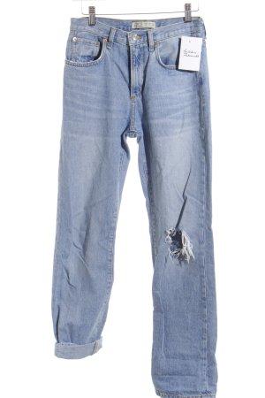 Zara Basic High Waist Jeans hellblau Used-Optik