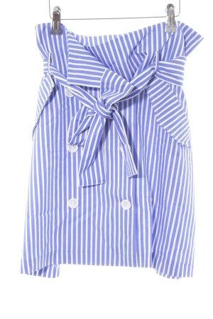 Zara Basic Jupe taille haute blanc-bleuet motif rayé style décontracté