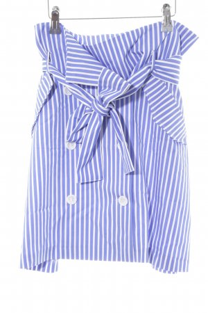 Zara Basic Falda de talle alto blanco-azul aciano estampado a rayas look casual