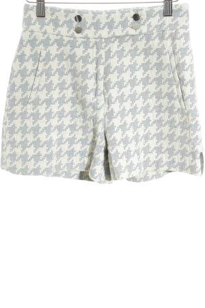 Zara Basic High-Waist-Shorts wollweiß-himmelblau Hahnentrittmuster