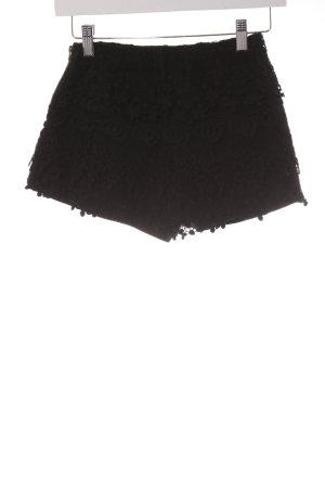 Zara Basic Hot Pants schwarz Blumenmuster Elegant
