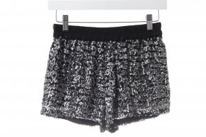 Zara Basic Hot Pants schwarz-silberfarben extravaganter Stil