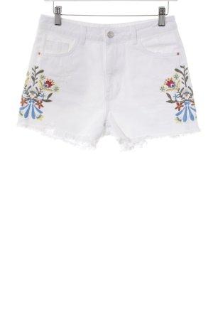 Zara Basic Hot Pants weiß florales Muster Casual-Look