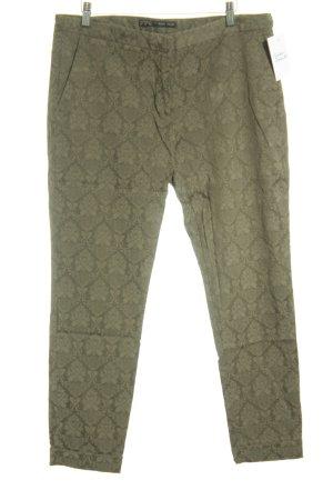 Zara Basic Low-Rise Trousers green grey flower pattern casual look