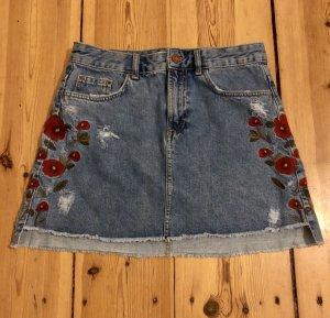 Zara Basic Gonna di jeans blu acciaio-rosso chiaro Cotone