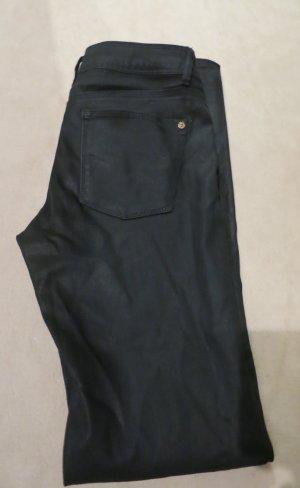 Zara Basic Jeans Skinny schwarz beschichtet Lederlook Gr S 36