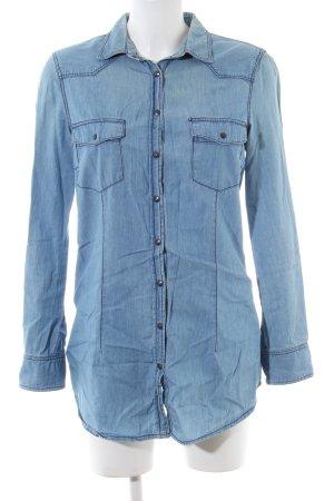 Zara Basic Denim Blouse blue casual look