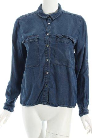 Zara Basic Jeansbluse blau Jeans-Optik