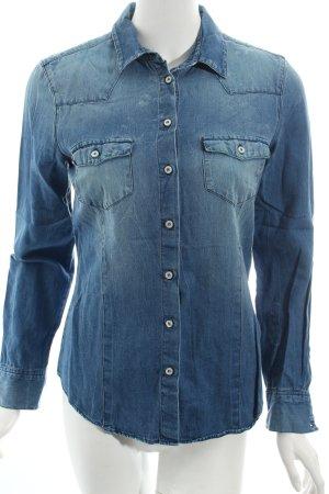 Zara Basic Jeansbluse blau klassischer Stil