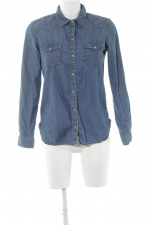Zara Basic Jeanshemd blau Casual-Look