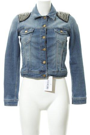 Zara Basic Jeansjacke blau Biker-Look