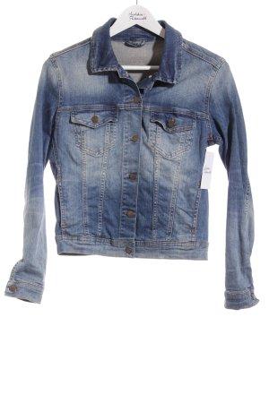 Zara Basic Jeansjacke blau-sandbraun Used-Optik