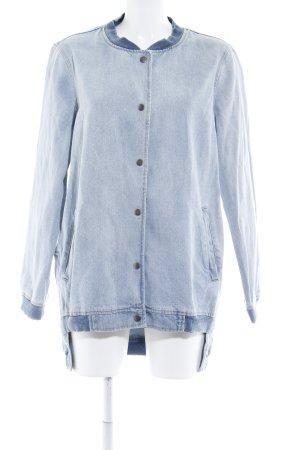 Zara Basic Veste en jean bleu azur style décontracté