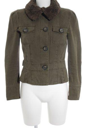 Zara Basic Jeansjacke olivgrün-khaki Jeans-Optik