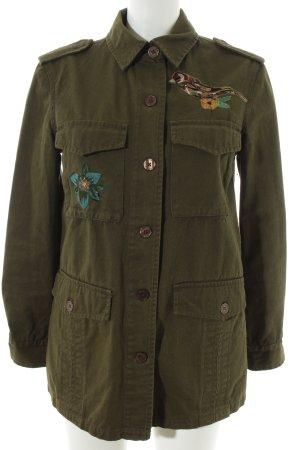 Zara Basic Jeansjacke olivgrün Military-Look