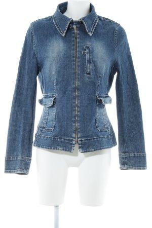 Zara Basic Veste en jean bleu acier style décontracté