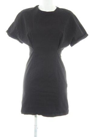 Zara Basic Jeanskleid schwarz Biker-Look