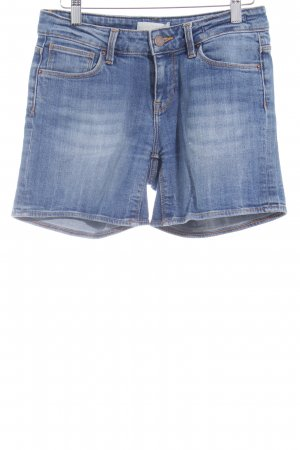 Zara Basic Pantalón corto de tela vaquera azul look casual